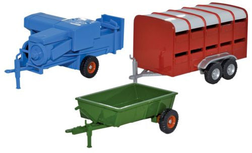 Oxford Diecast 3 Piece Farm Trailers  - 1:76 Scale - OxfordDiecast