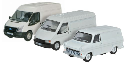 Oxford Diecast Ford Transit 50th Anniversary Mk1_Mk3_Mk5 White - 1:76