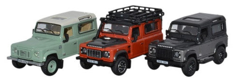 Oxford Diecast Land Rover Defender Heritage Set  - 1:76 Scale