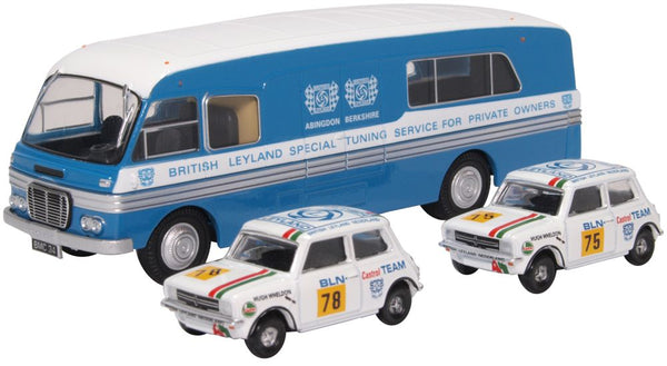 Oxford Diecast BMC Transporter & 2 Mini 1275GT Set British Leyland Ned