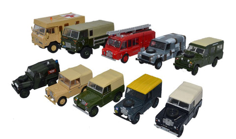 Oxford Diecast 10 Piece Land Rover Military Set
