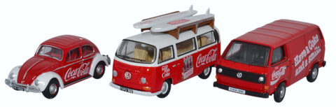 Oxford Diecast 3 Piece VW Set Coca Cola