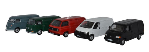 Oxford Diecast 5 Piece VW Van Set T1/T2/T3/T4/T5
