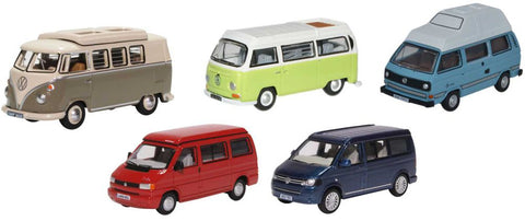 Oxford Diecast 5 Piece VW Camper Set T1/T2/T3/T4/T5/