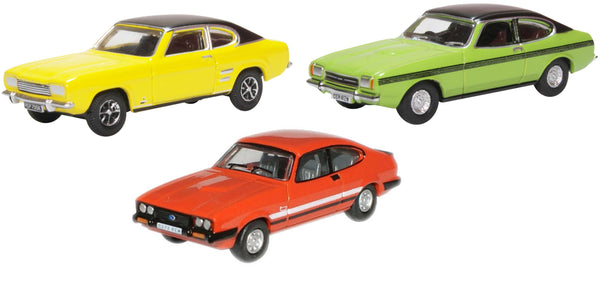 Oxford Diecast 3 Piece Ford Capri Set MK1/MK2/MK3