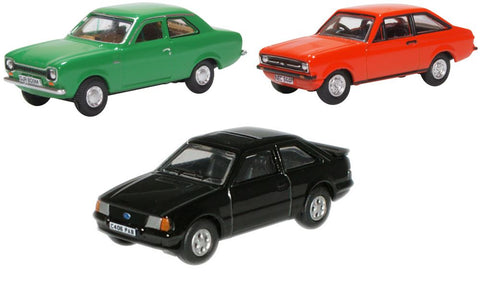 Oxford Diecast 3 Piece Ford Escort Set MK1/MK2/XR3i