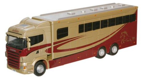 Oxford Diecast Metallic Scania Highline Horsebox - 1:76 Scale