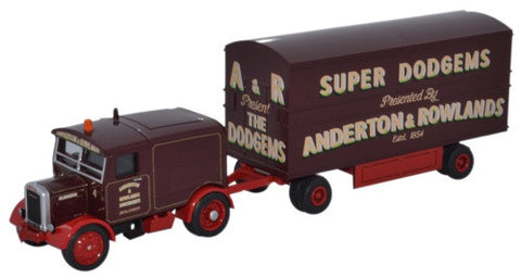 Oxford Diecast Scammell Showtrac & Dodgem Trailer Anderton & Rowland -