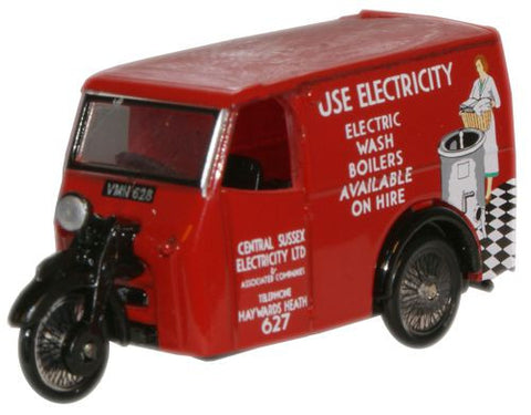 Oxford Diecast Tricycle Van Electricity - 1:76 Scale