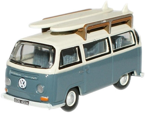 Oxford Diecast Fiord Blue/Arcona White VW Bus -Surfboards - 1:76 Scale
