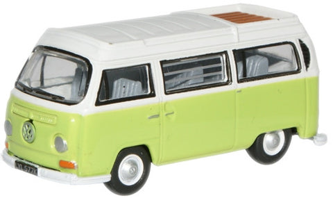Oxford Diecast Lime Green/White VW Camper Open - 1:76 Scale