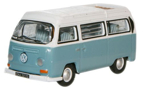 Oxford Diecast Chrome Blue White VW Bay Window Camper - 1:76 Scale
