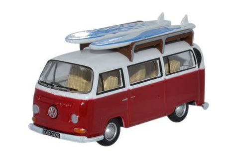 Oxford Diecast VW Bay Window Bus/Surfboards Montana Red/White - 1:76 S