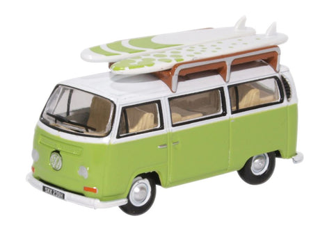 Oxford Diecast VW Bay Window Bus/Surfboards Lime Green/White