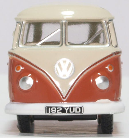 Oxford Diecast VW T1 Samba Bus Sealing Wax Red Beige Grey