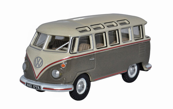 Oxford Diecast VW T1 Samba Bus Mouse Grey and Pearl White