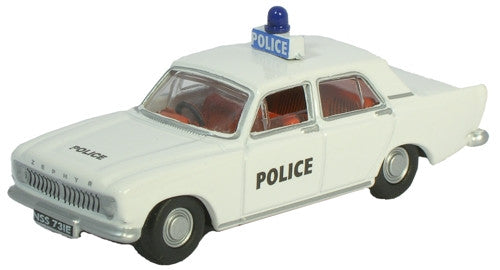 Oxford Diecast Ford Zephyr White Police Car - 1:76 Scale