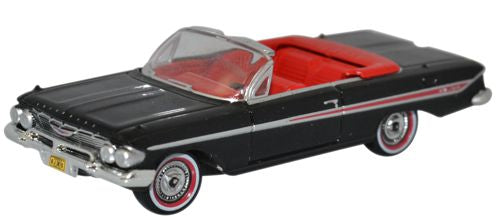Oxford Diecast Chevrolet Impala 1961 Convertible Tuxedo Black/red