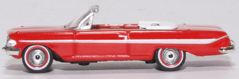 Oxford Diecast Chevrolet Impala 1961 Convertible Roman Red/white