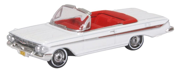 Oxford Diecast Chevrolet Impala 1961 White Roman Red