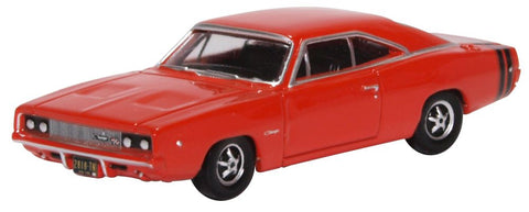 Oxford Diecast Dodge Charger 1968 Bright Red 1:87
