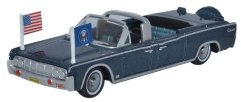 Oxford Diecast 1961 Lincoln Continental X100 Presidential Blue Metalli