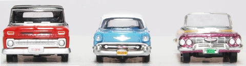 Oxford Diecast 3 Piece Set Chevrolet Hot Rods