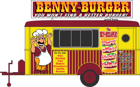 Oxford Diecast Benny Burger Mobile Trailer - 1:87 Scale