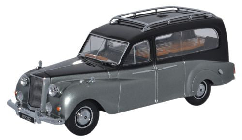Oxford Diecast Austin Princess Hearse Black and Silver - 1:43 Scale
