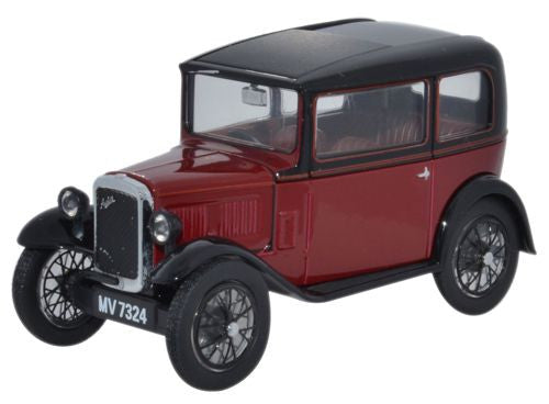 Oxford Diecast Austin Seven RN Saloon Maroon - 1:43 Scale