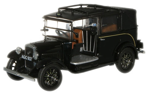 Oxford Diecast Black Austin Low Loader Taxi - 1:43 Scale