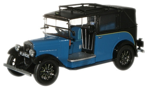 Oxford Diecast Blue Austin Low Loader Taxi - 1:43 Scale