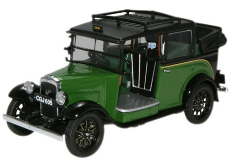 Oxford Diecast Austin Low Loader Taxi (Roof Down) Green/Black - 1:43 S