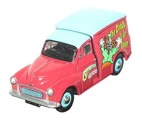 Oxford Diecast Chipperfields Morris Minor Clown Van - 1:76 Scale