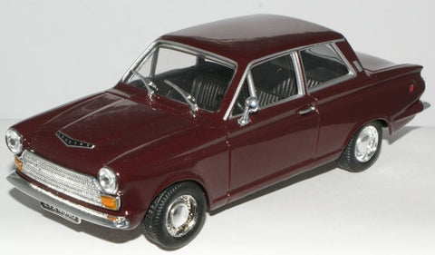 CARARAMA Ford Cortina MK 1 GT Black & Cherry - 1:43 Scale - OxfordDiecast