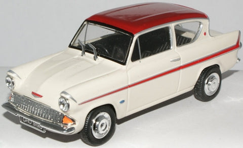 CARARAMA Ford Anglia 105E Ermine White\Dragoon Red - 1:43 Scale - OxfordDiecast