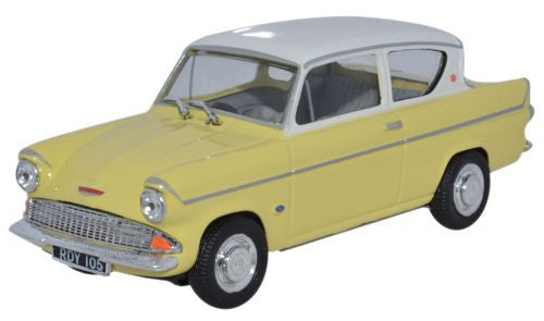 CARARAMA Ford Anglia 105E Sunburst Yellow/Ermine White - 1:43 Scale - OxfordDiecast