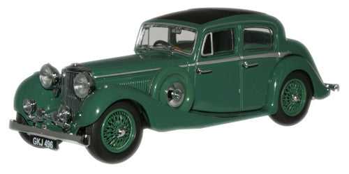Oxford Diecast Suede Green  SS Jaguar 2.5 Saloon - 1:43 Scale