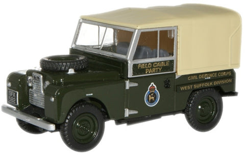 "Oxford Diecast Civil Defence Corps Land Rover 88"" Canvas - 1:43 Scale"