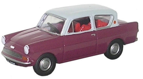 Oxford Diecast Maroon/Grey Ford Anglia - 1:148 Scale