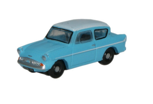 Oxford Diecast Caribbean Turquoise/White Ford Anglia - 1:148 Scale