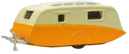 Oxford Diecast Orange/Cream Caravan - 1:148 Scale