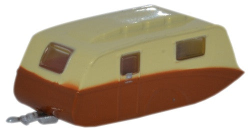 Oxford Diecast Caravan Cream and Brown - 1:148 Scale