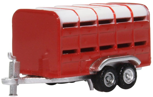 Oxford Diecast Livestock Trailer Red