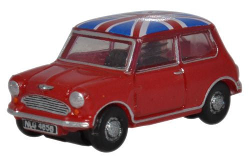 Oxford Diecast Tartan Red/Union Jack Austin Mini - 1:148 Scale