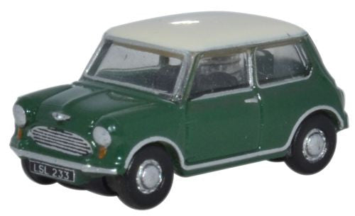 Oxford Diecast Almond Green Old English White Austin Mini - 1:148 Scal