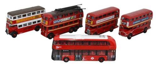 Oxford Diecast 5 Piece Bus Set London Transport