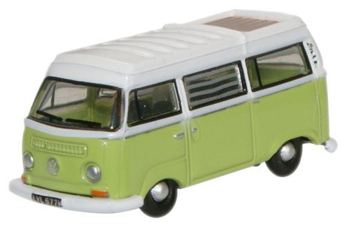 Oxford Diecast Lime Green_ White VW Bay Window Camper - 1:148 Scale