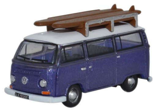 Oxford Diecast Metallic Purple _White VW Bay Window Bus - 1:148 Scale