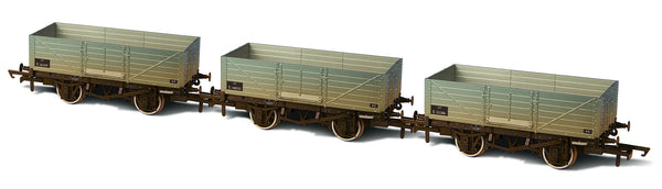 Oxford Rail BR 6 Plank Triple Wagon Pack Weathered